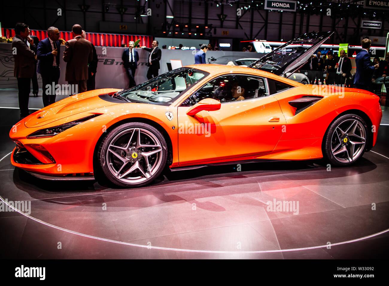 Geneva, Switzerland, March 2019: Ferrari F8 Tributo at Geneva International Motor Show, mid-engined sports car produced by Italian Ferrari - Stock Image
