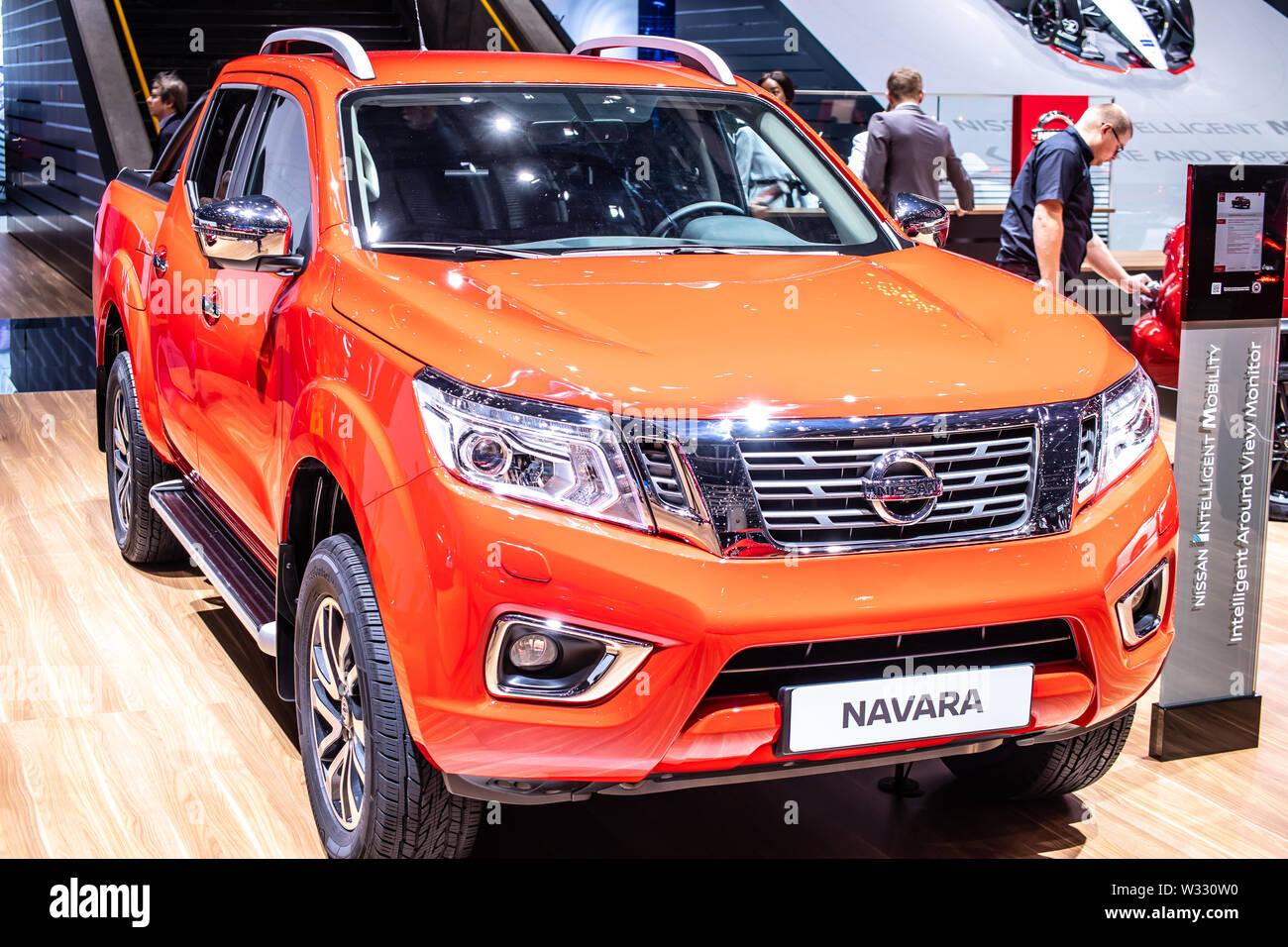 Geneva, Switzerland, March 2019 Nissan Navara pickup truck