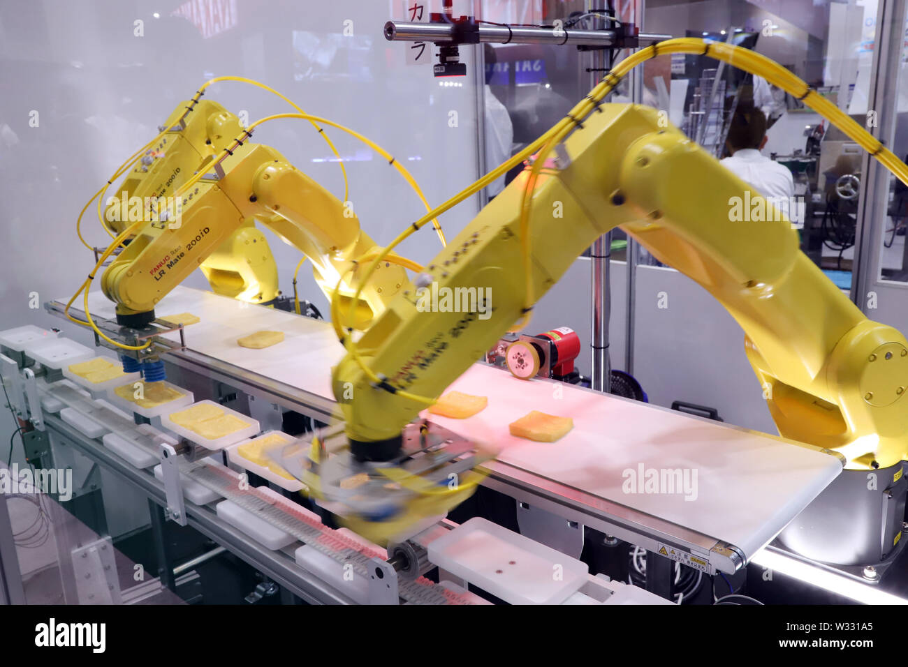 Tokyo, Japan  11th July, 2019  Japanese robot maker Fanuc's arm