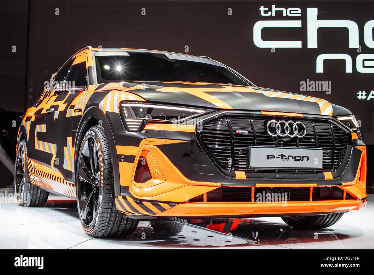 Geneva Mar 2019 New All Electric Audi E Tron Sportback Concept Prototype Car Coupe Like Crossover Geneva International Motor Show Stock Photo Alamy