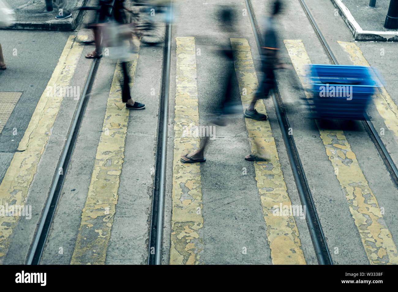 Pedestrian crossing at Busy City, Hong Kong - Stock Image
