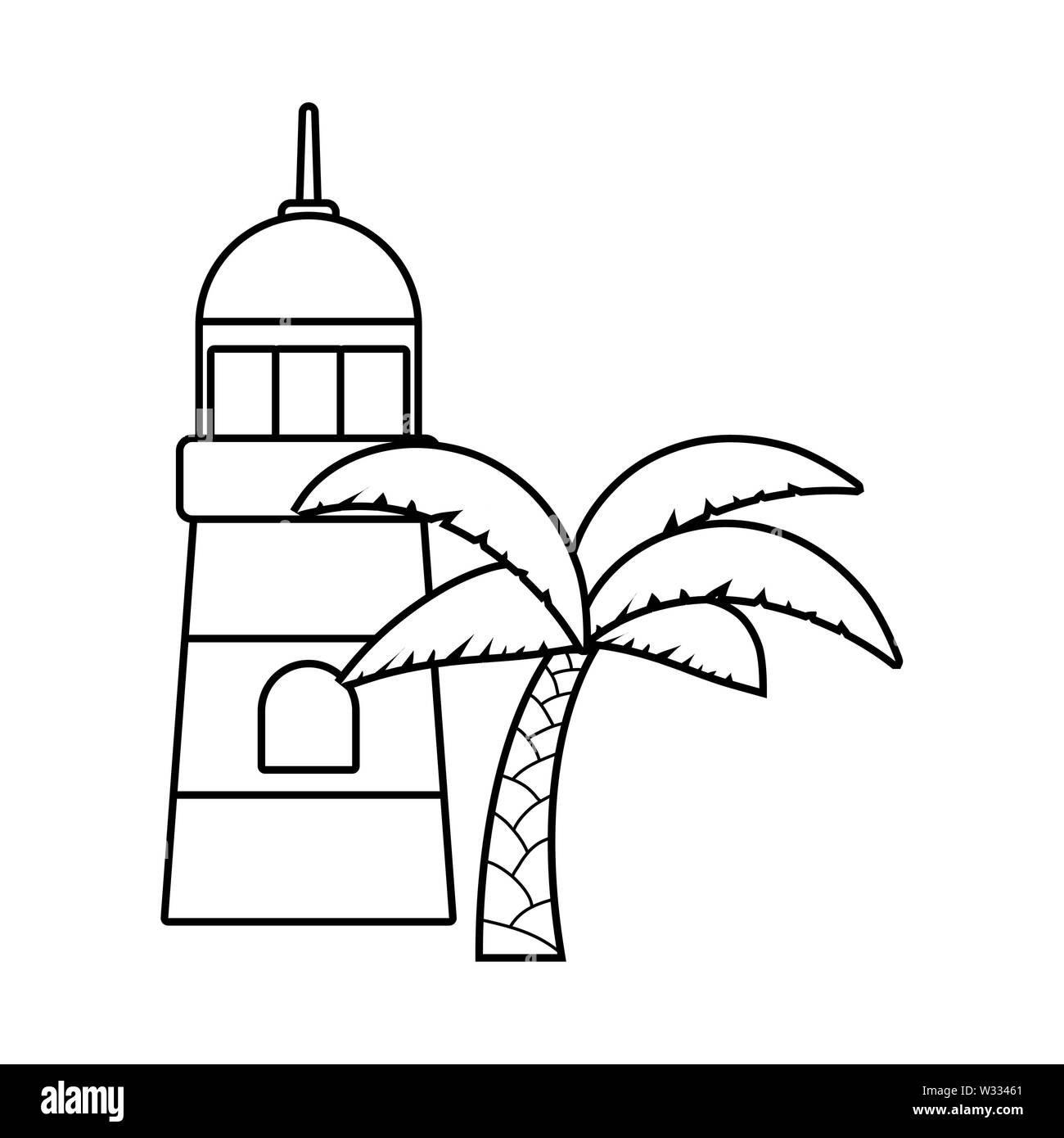 lighthouse sea with palm tropical vector illustration design - Stock Image