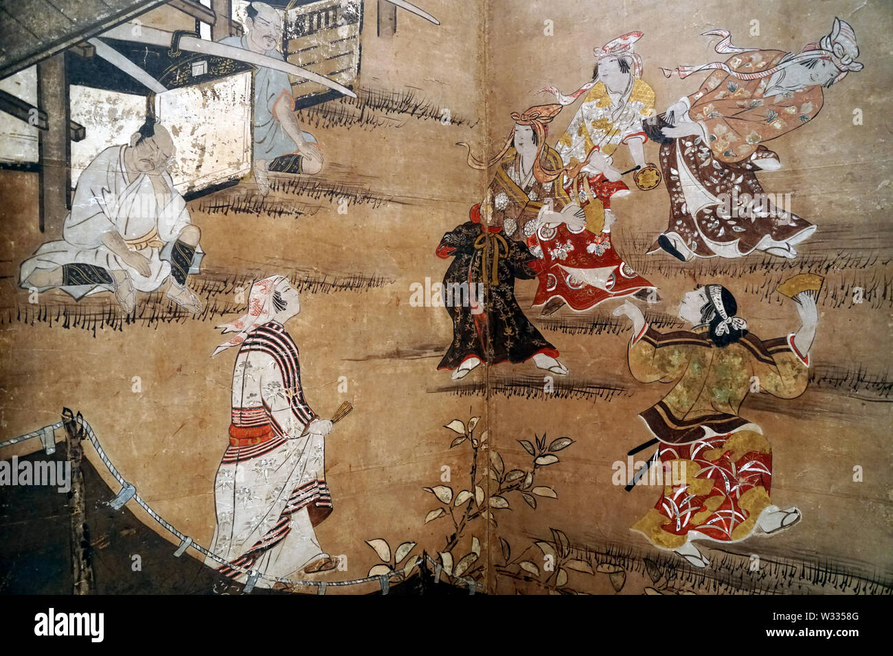 Merrymaking under Cherry Blossom Trees (detail), by Kano Naganobu, color on paper, Edo period, 17th century Stock Photo
