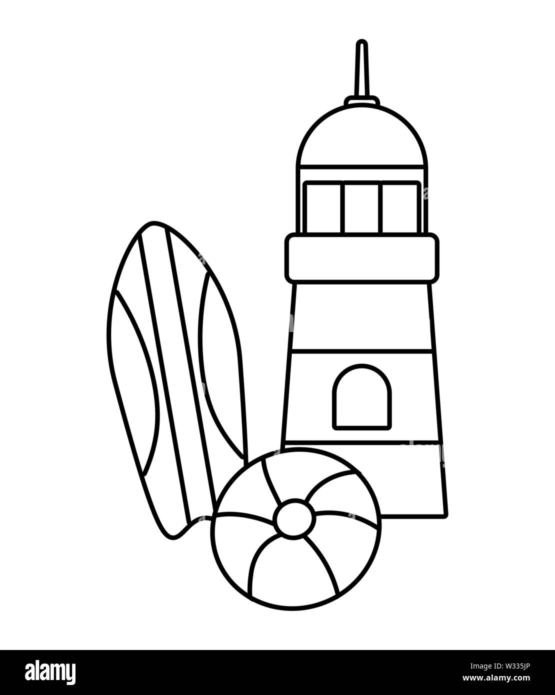 lighthouse with surfboard and float vector illustration design - Stock Image