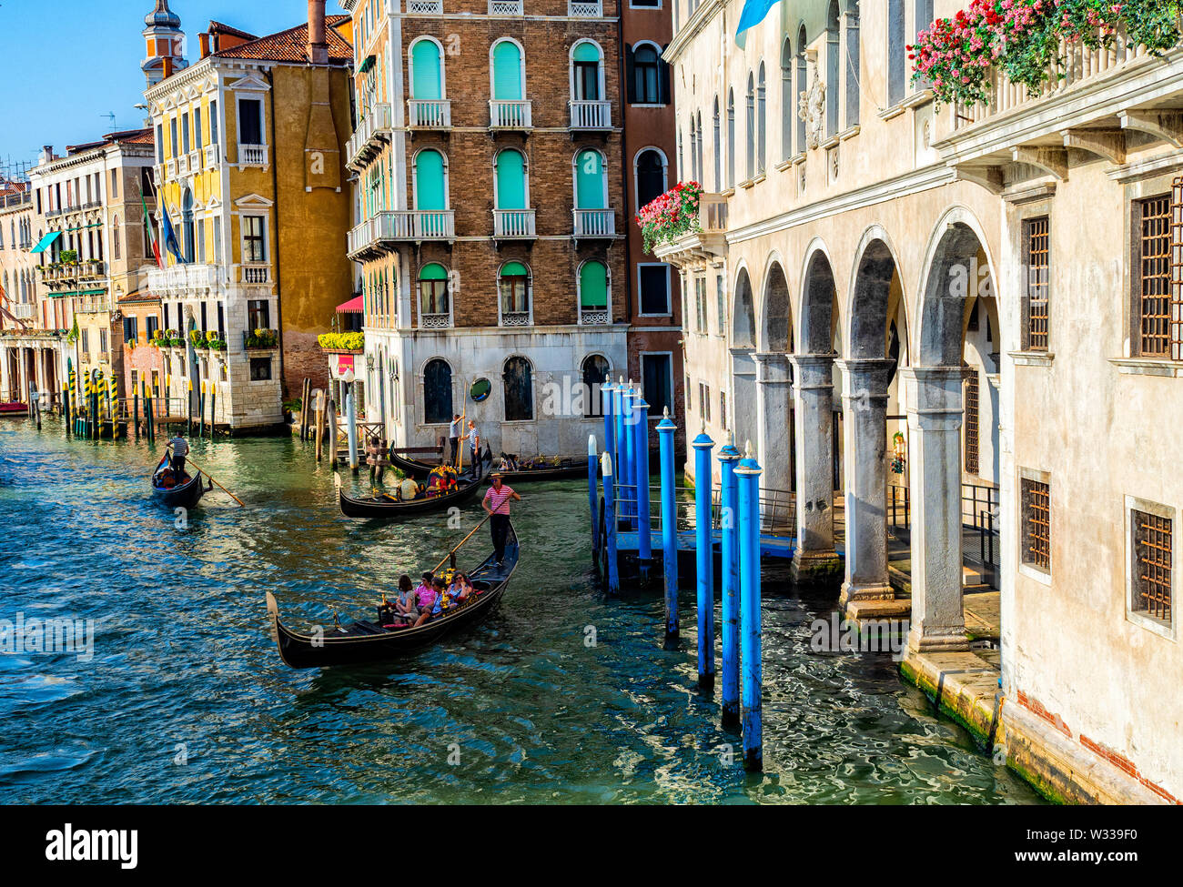 Boats on the Grand Canal in Venice, Italy - Stock Image