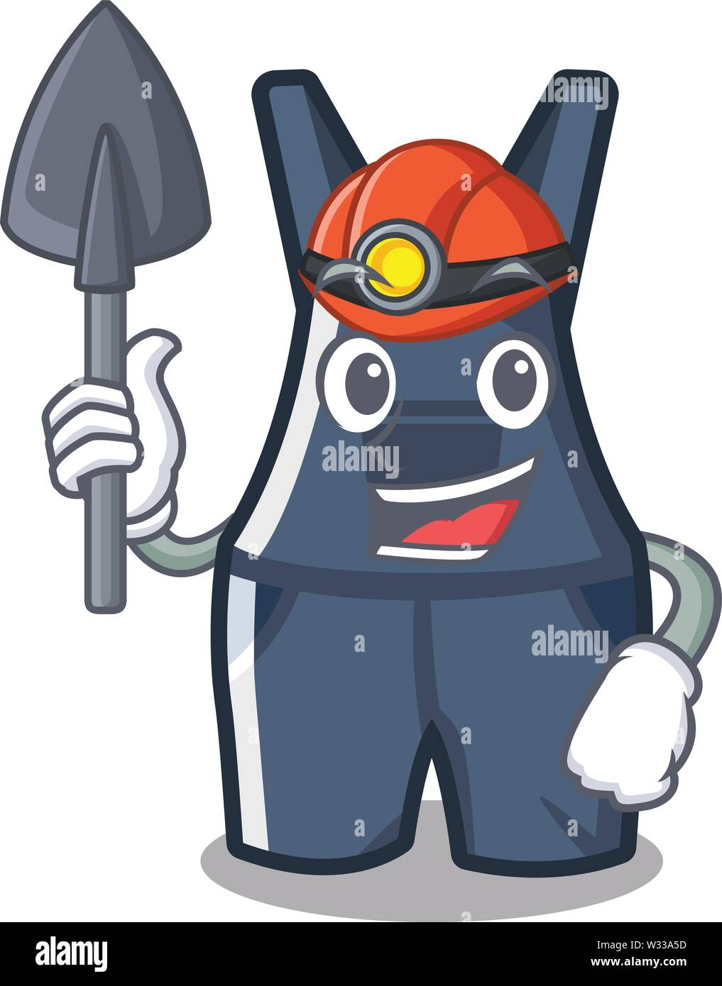 Miner overalls hanging on a cartoon wall - Stock Image