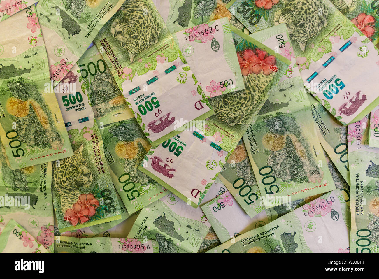 Close up of argentine money, 500 pesos bills - Stock Image