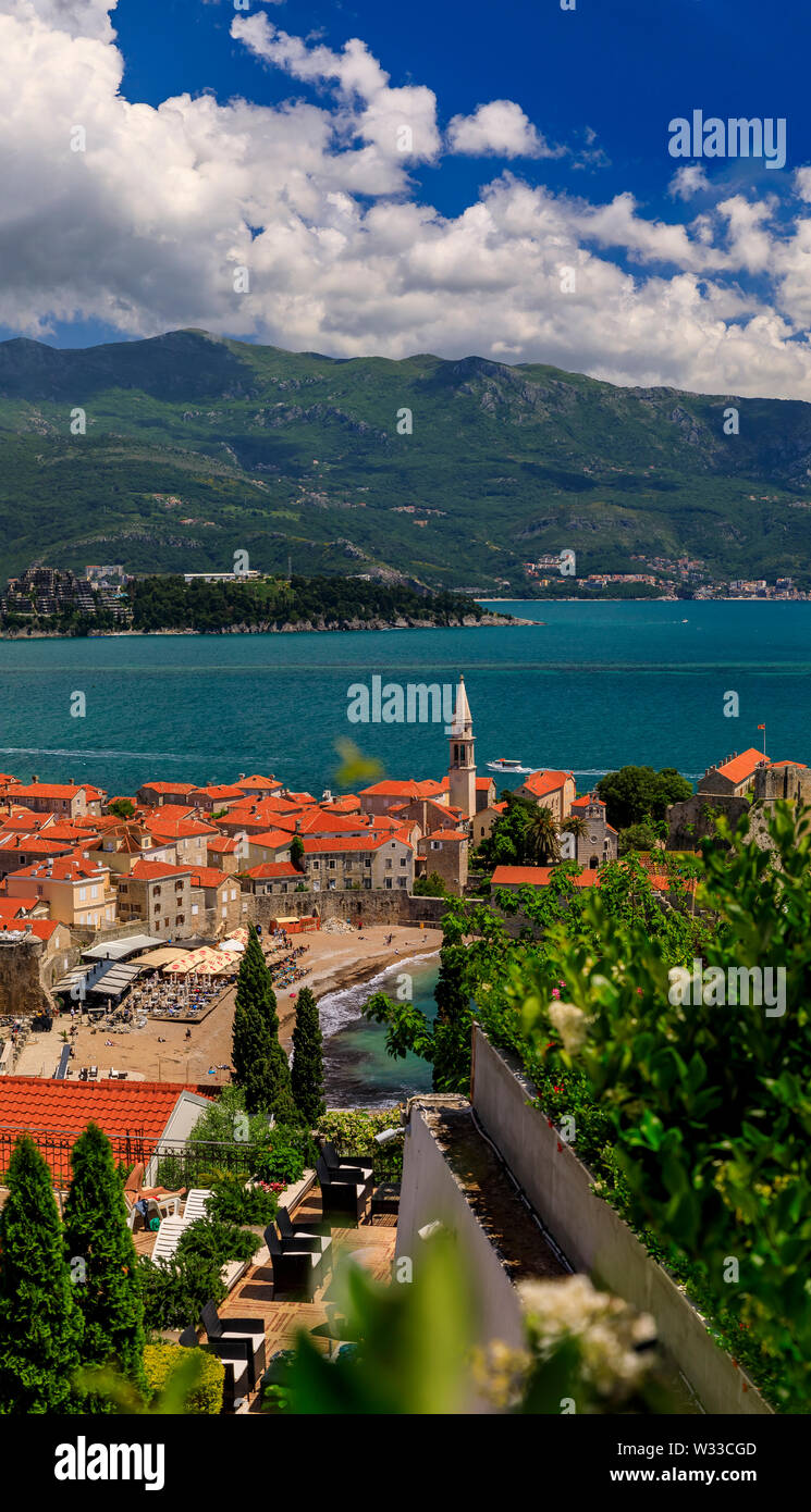 Aerial view of Budva Old Town with the Citadel and the Adriatic Sea in Montenegro on the Balkans with flowers in bokeh in the foreground - Stock Image
