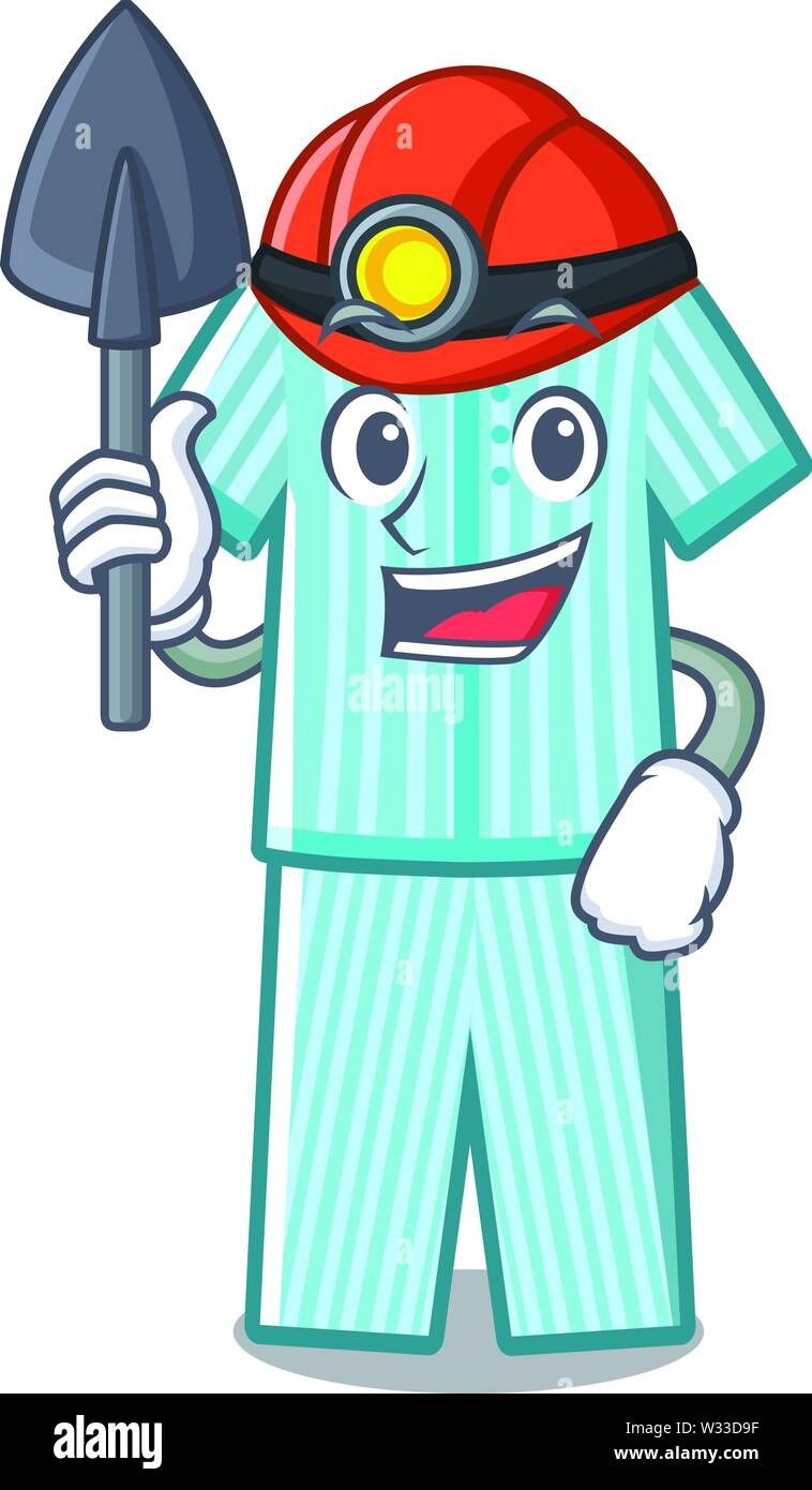 Miner pyjamas placed on a cartoon bed - Stock Image