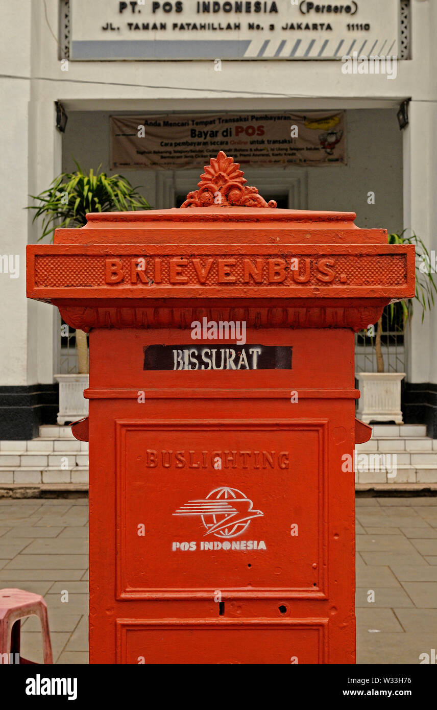 jakarta, dki jakarta/indonesia - december 08, 2008: a vintage dutch colonial letter box in front of the  colonial post office building in kota at tama - Stock Image