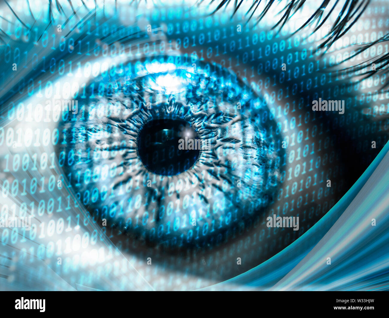 digital concept with binary numbers on close-up pupil for speed internet and data usage - Stock Image