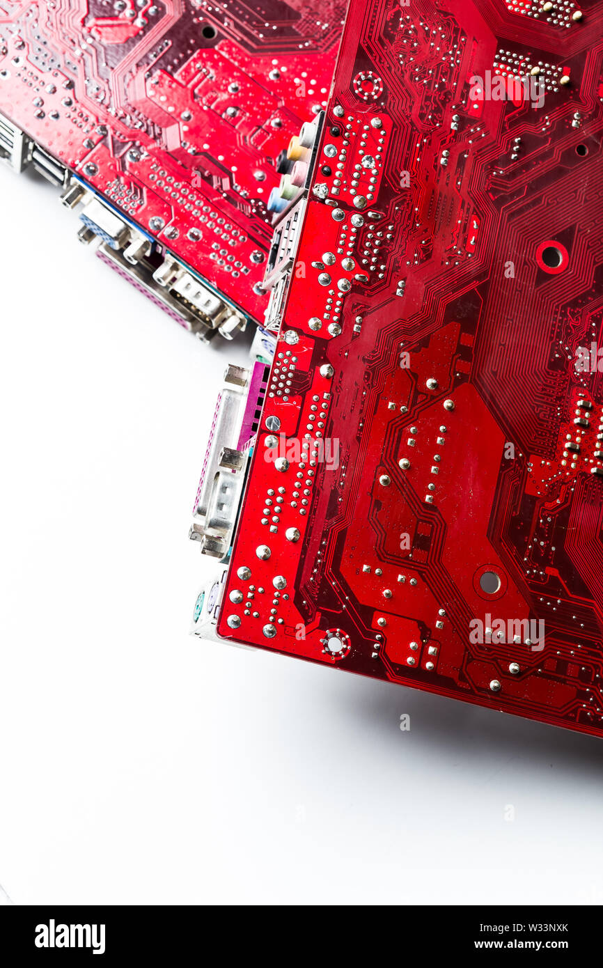 Close up of a printed red computer circuit board - Stock Image