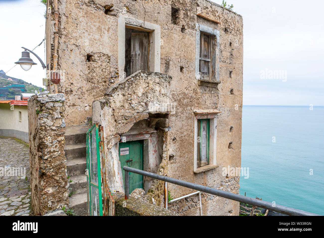 abandoned, destroyed house with sea view in Amalfi, Italy Stock Photo