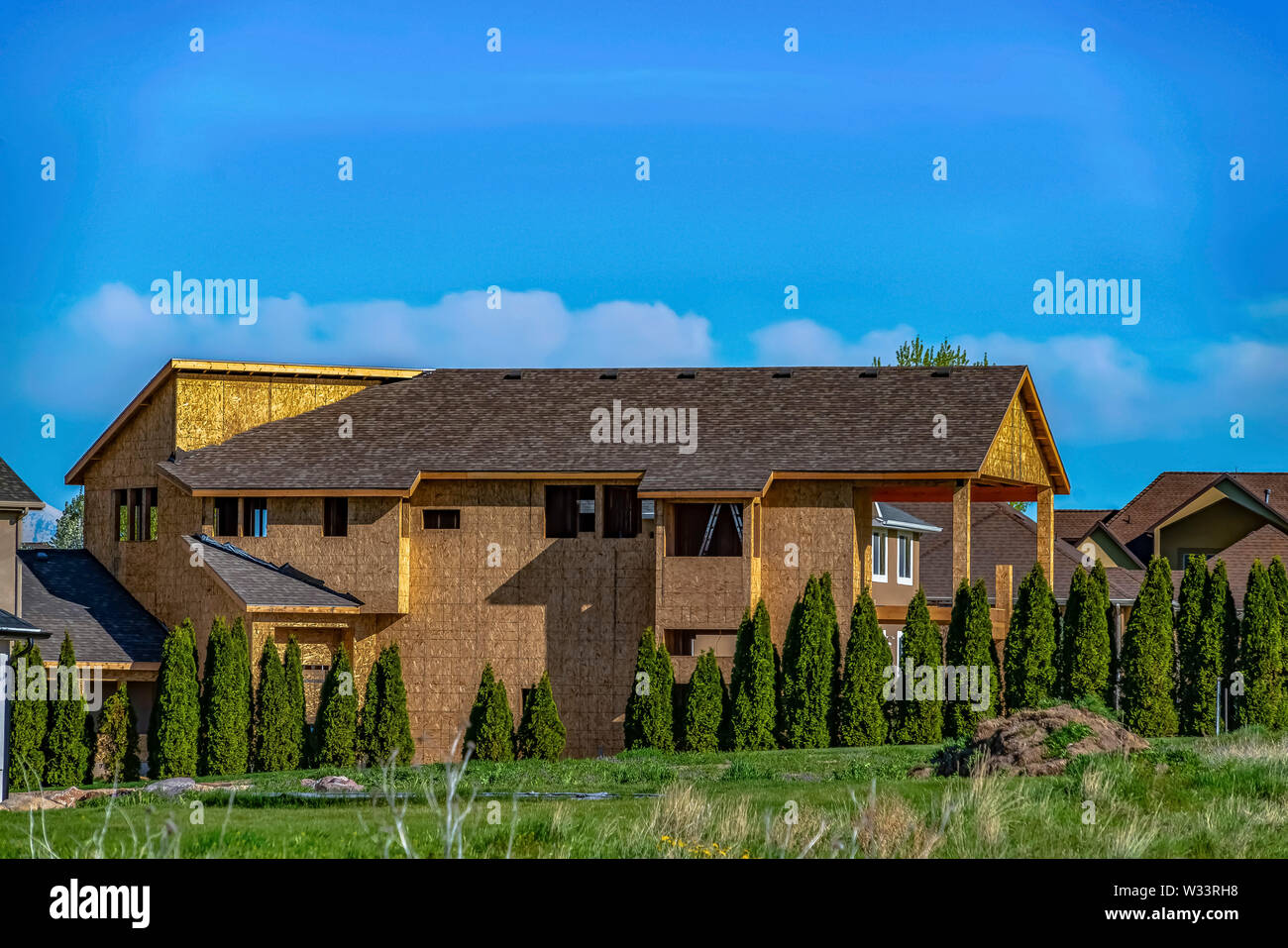 Exterior of house under construction with blue sky background on a sunny day. Row of vivid green trees with conical shape thrives outside the unfinish Stock Photo
