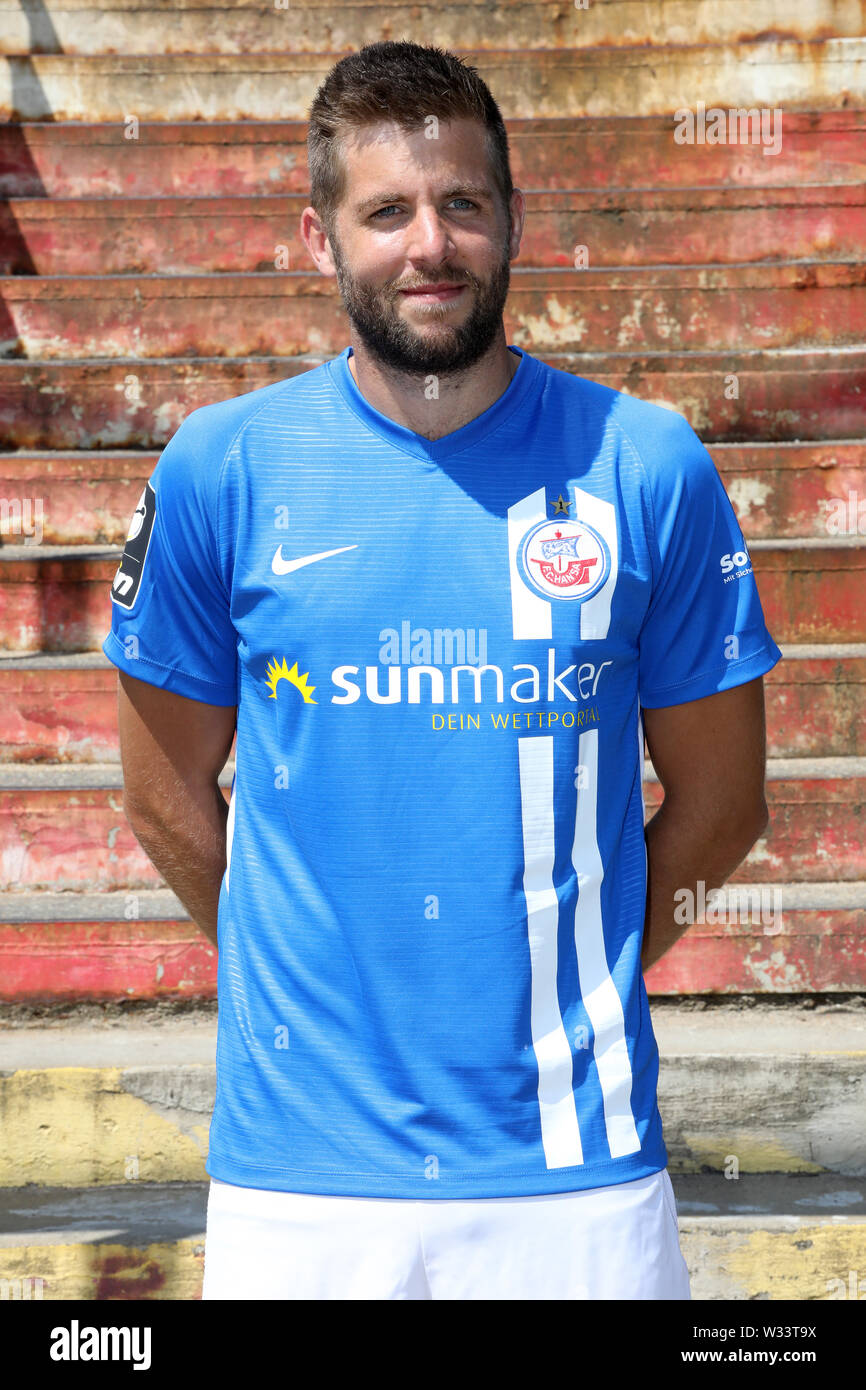 Rostock Germany 11th July 2019 Marco Konigs Is Standing On A Pedestrian Bridge To The Parkstrasse S Bahn Station At The Official Team Photo Shoot For Fc Hansa Rostock Credit Bernd Wustneck Dpa Zentralbild Dpa Alamy Live