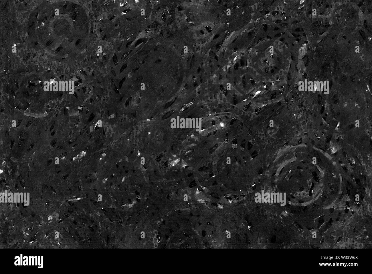 Dark monochrome abstract grunge background. Gray rough texture with scratches, dots, lines, circles, strokes and stains. Hand drawing. Medicine, biolo Stock Photo