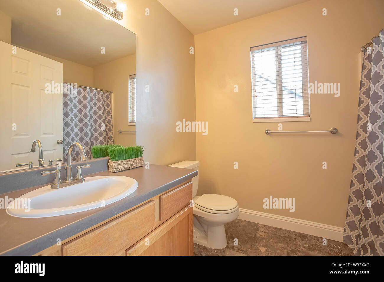 Bathroom Interior With Close Up Of Sink Cabinet And Mirror Beside The Toilet Small Window Towel Rod And Shower Curtain Can Also Be Seen Inside This Stock Photo Alamy
