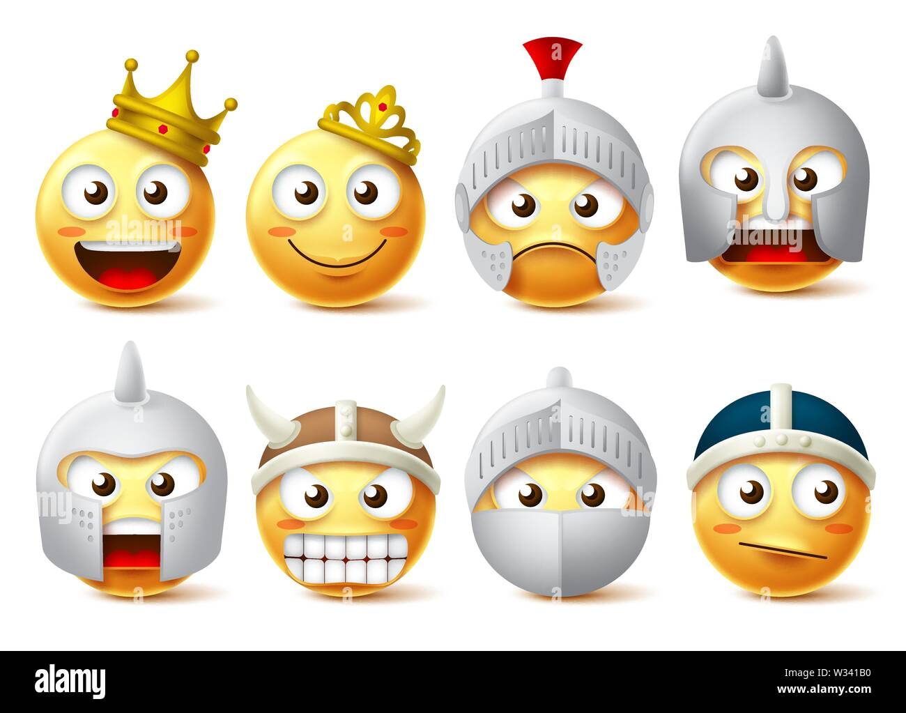 Emoticon Vector Set Smiley Face And Yellow Emoji Of King Stock