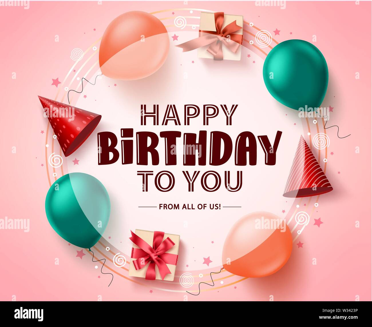 Happy Birthday Greeting Card Vector Banner Template. Happy