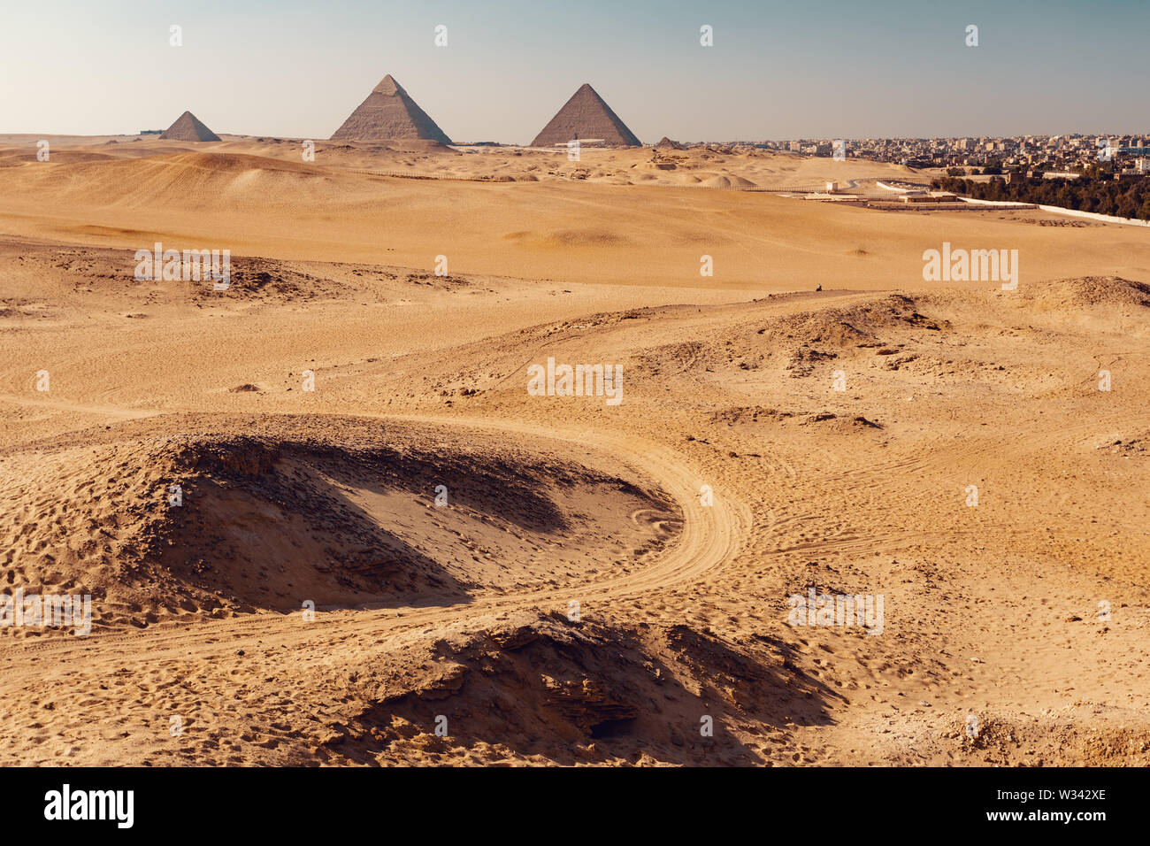 Panorama of the Great Pyramids of Giza, Egypt architecture, View from desert - Stock Image