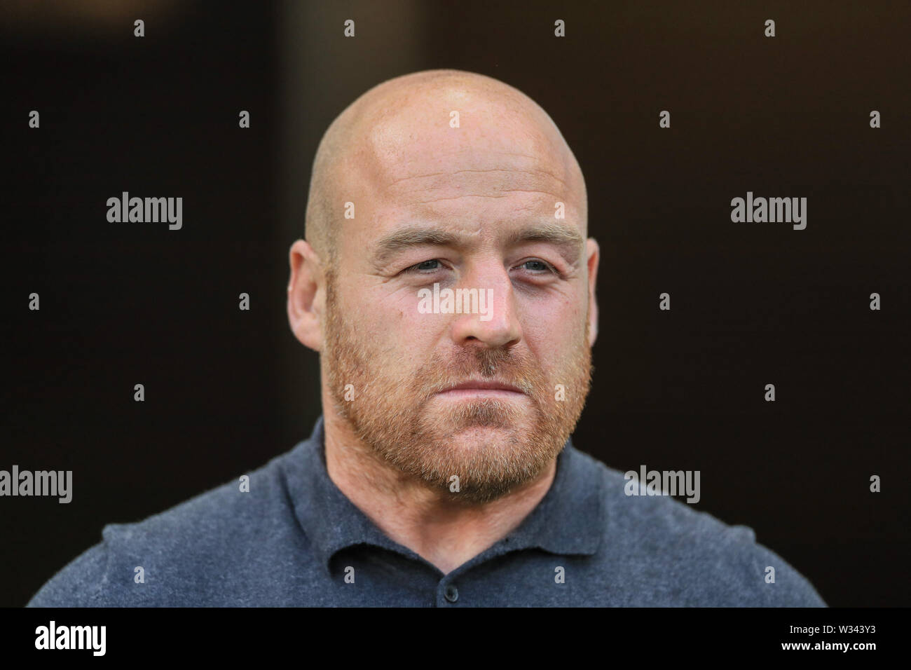 11th July 2019 , KCOM Stadium, Hull, England; Betfred Super League, Round 22, Hull FC vs London Broncos ; Danny Ward Head Coach of London Broncos watches his team warm up  Credit: Mark Cosgrove/News Images - Stock Image