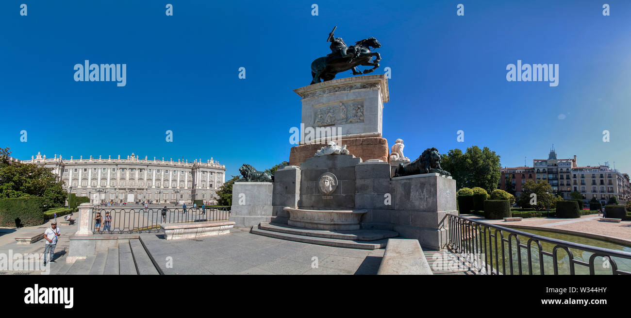 Madrid, Spain - June 21, 2019: Monument to Felipe IV located in Plaza de Oriente, in front of the Royal Palace Stock Photo