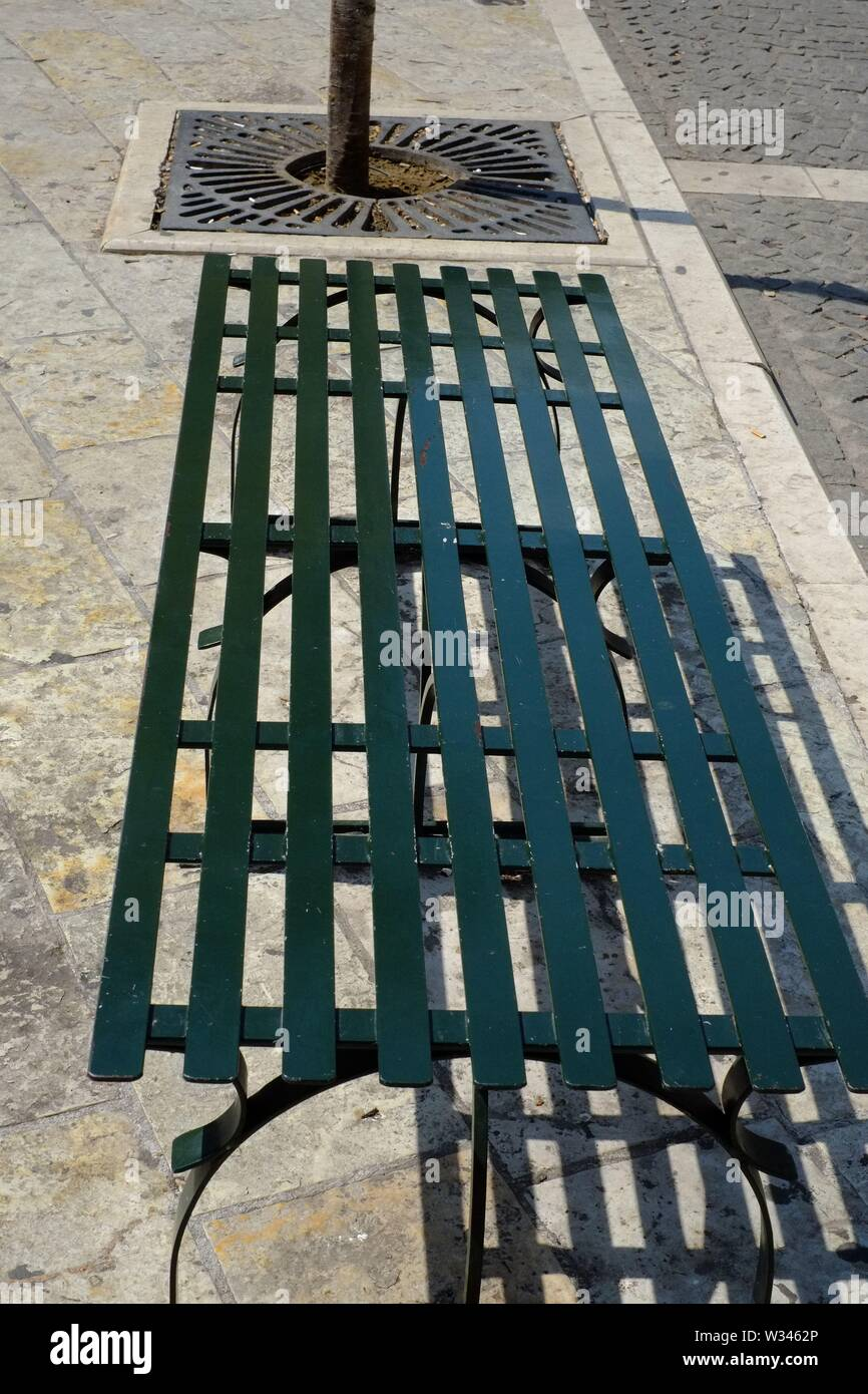Corfu Corfu town a simple public seat to wait for a bus it seemed a subject to photograph. - Stock Image