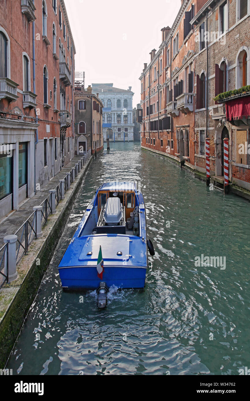 Funeral Hearse Boat With Casket in Venice Canal - Stock Image