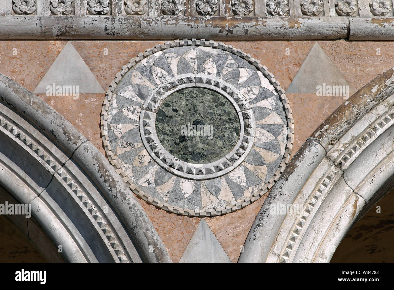 Round Marble Decor at Doge Palace in Venice Italy - Stock Image