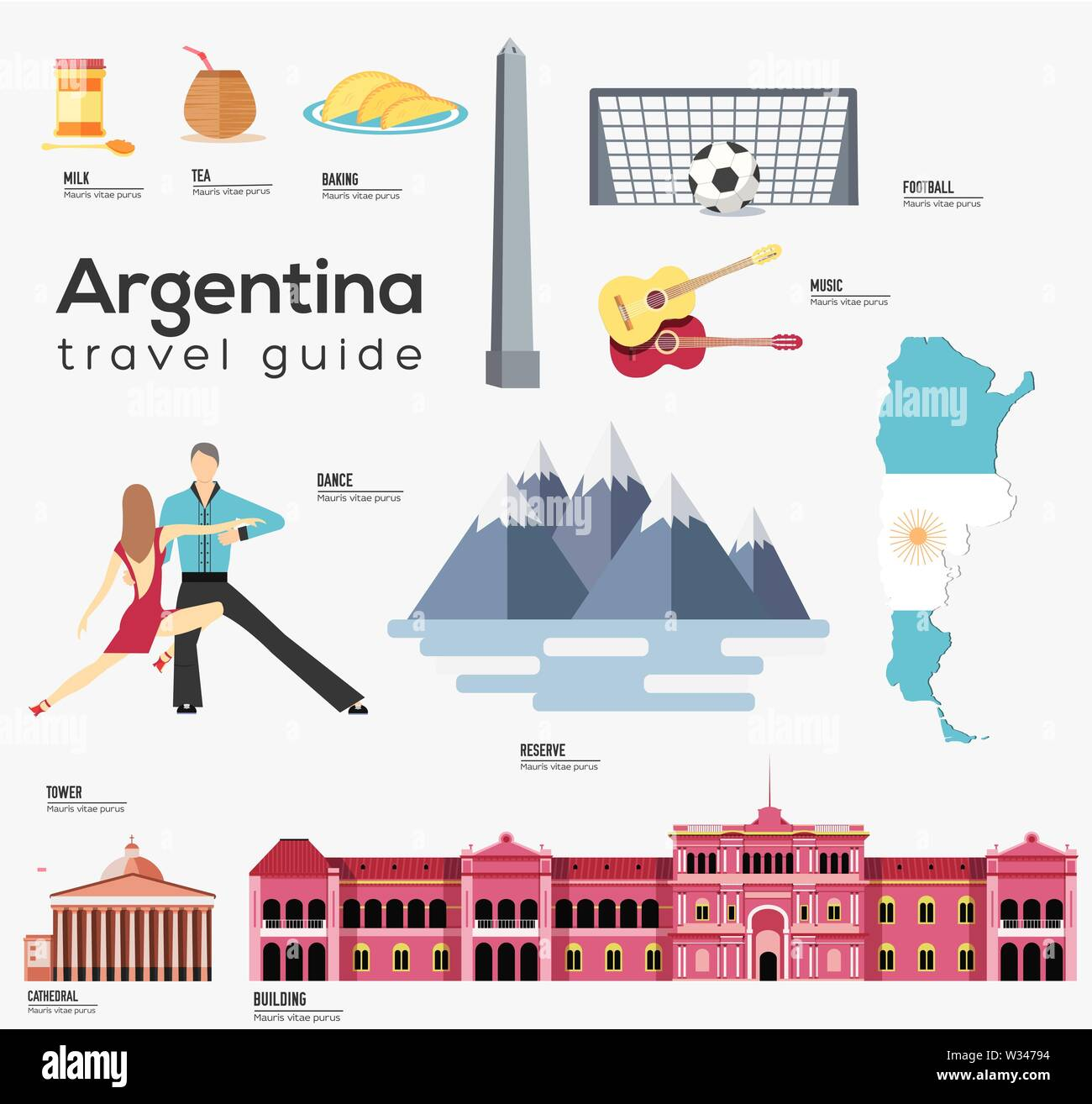 Argentina travel guide template. Set of argentinian landmarks, food flat icons, pictograms on white. Sightseeing attractions and cultural symbol vecto - Stock Image