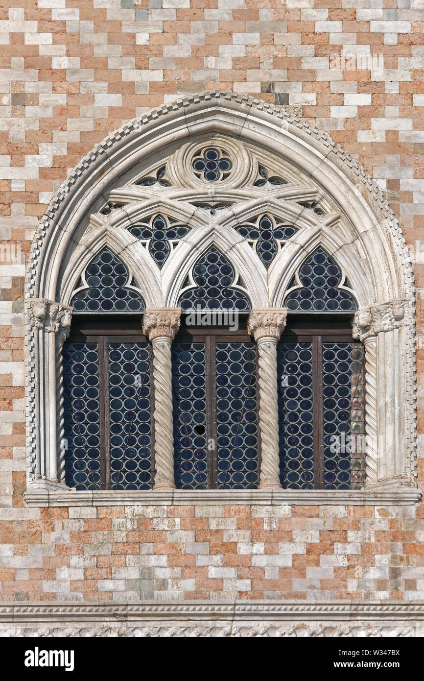 Arch Window at Doge Palace in Venice Italy - Stock Image