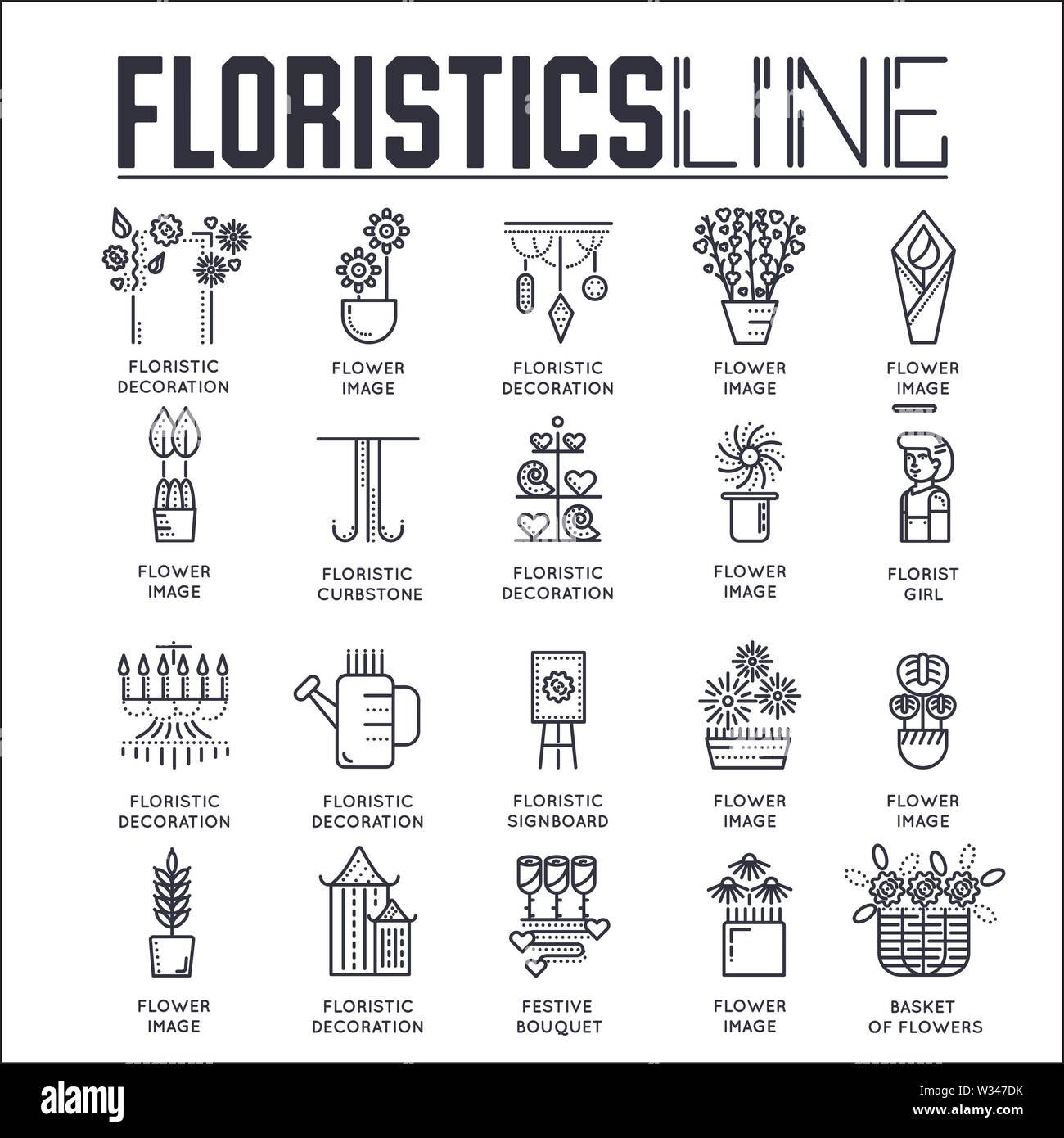 Set of floristic decoration thin line icons isolated on white. Floral shop, botanic market outline pictograms collection. Flowers and plants logotypes - Stock Image