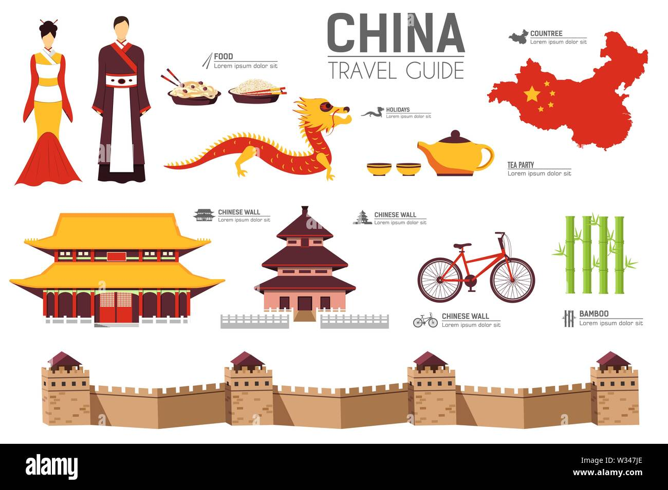 China travel guide template. Set of chinese landmarks, cuisine, traditions flat icons, pictograms on white. Sightseeing attractions and cultural symbo - Stock Image