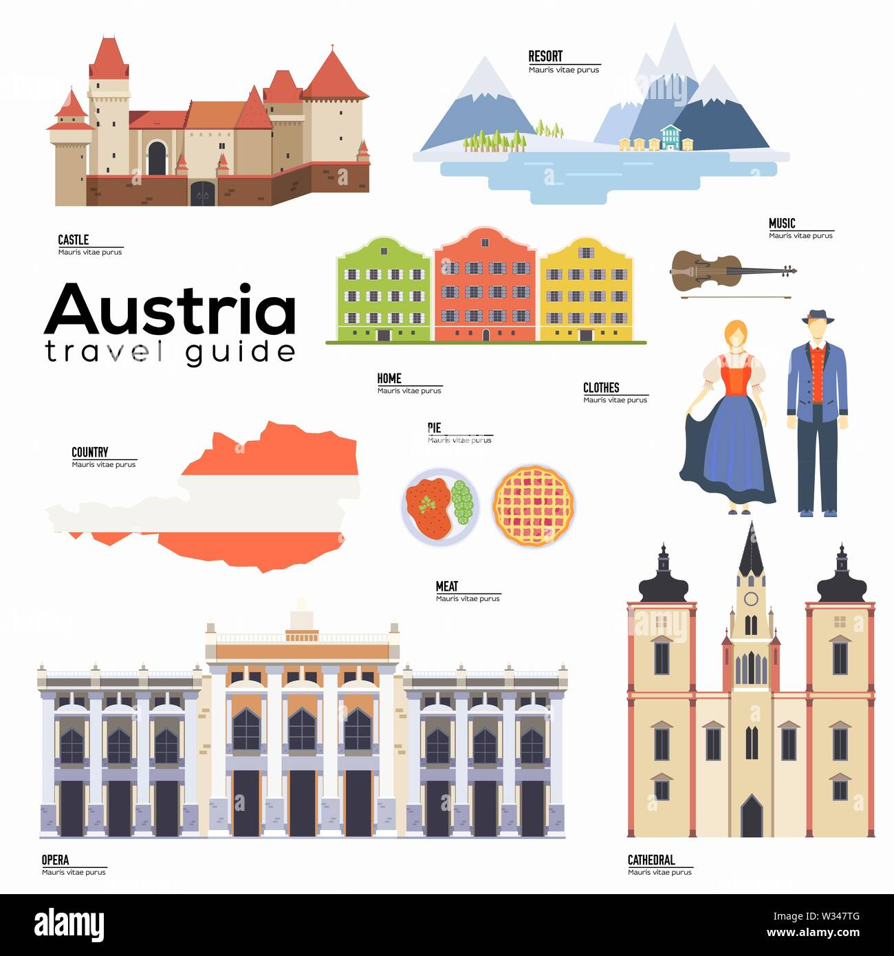 Austria travel guide template. Set of austrian landmarks, cuisine, traditions flat icons, pictograms on white. Sightseeing attractions and cultural sy - Stock Image