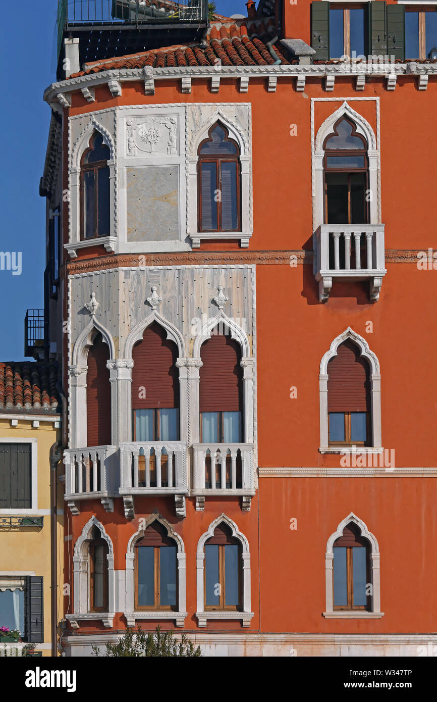 Windows at Traditional Building in Venice Italy - Stock Image
