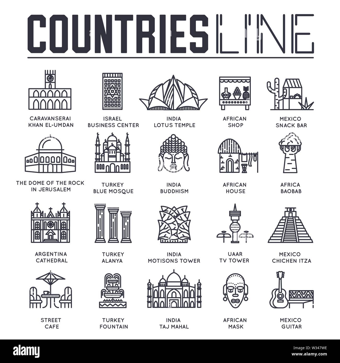 Set of sightseeing attractions of countries all over the world thin line icons isolated on white. Famous architecture outline pictograms collection. L - Stock Image