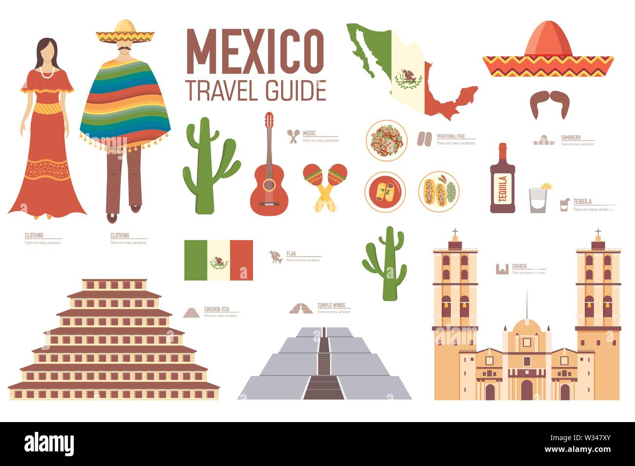 Mexico travel guide template. Set of mexicana landmarks, cuisine, traditions flat icons, pictograms on white. Sightseeing attractions and cultural sym - Stock Image