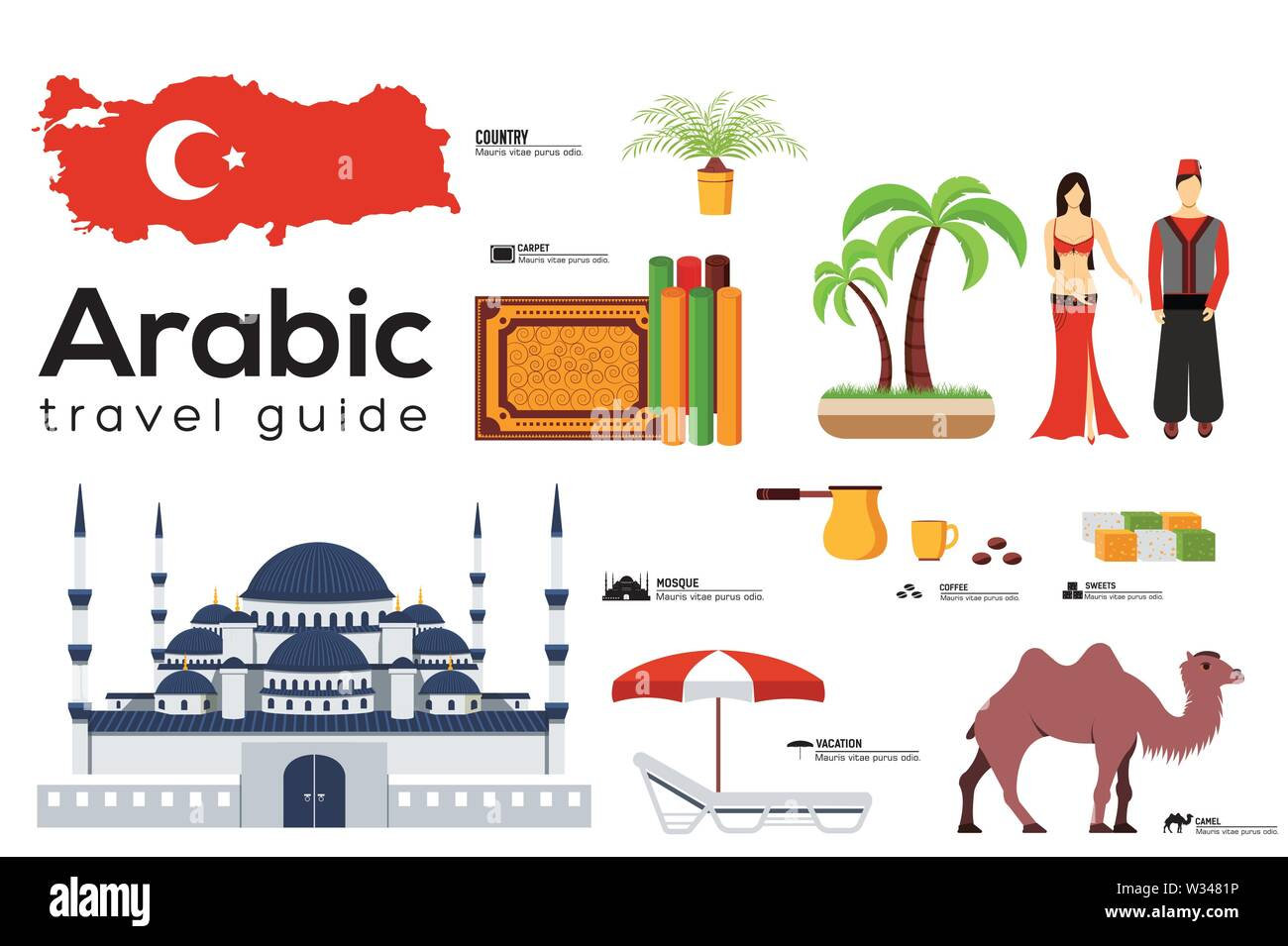 Arabic travel guide template. Set of turkish landmarks, cuisine, traditions flat icons, pictograms on white. Sightseeing attractions and cultural symb - Stock Image