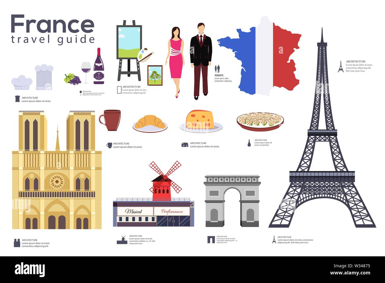 France travel guide template. Set of french landmarks, cuisine, traditions flat icons, pictograms on white. Sightseeing attractions and cultural symbo - Stock Image