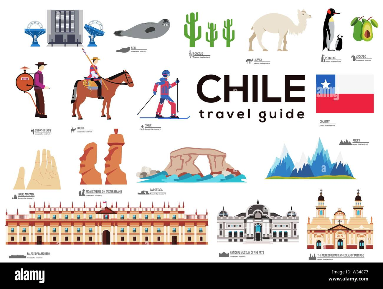 Chile travel guide template. Set of chilean landmarks, cuisine, traditions flat icons, pictograms on white. Sightseeing attractions and cultural symbo - Stock Image