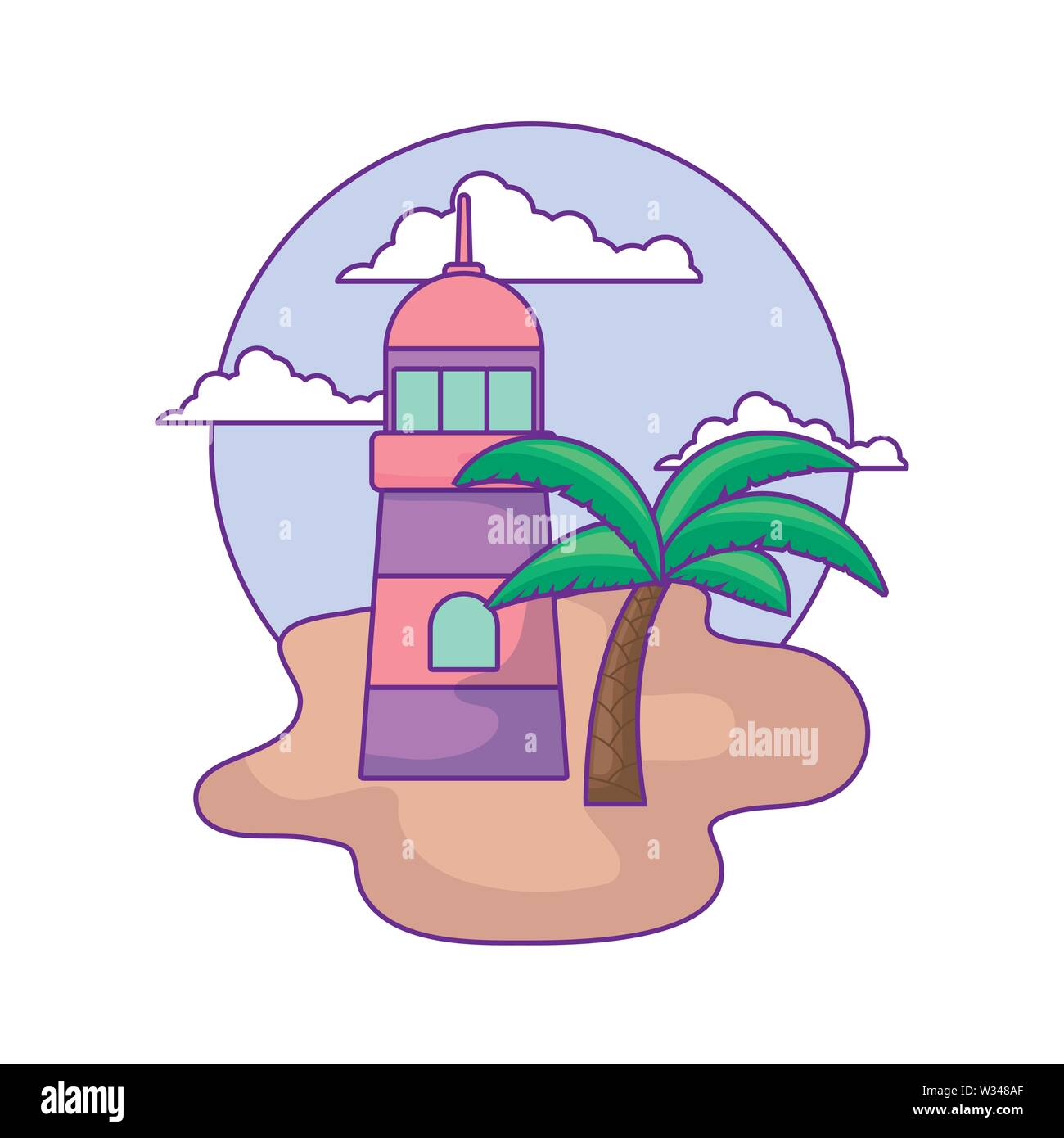 lighthouse sea with palm tropical in beach vector illustration design - Stock Image