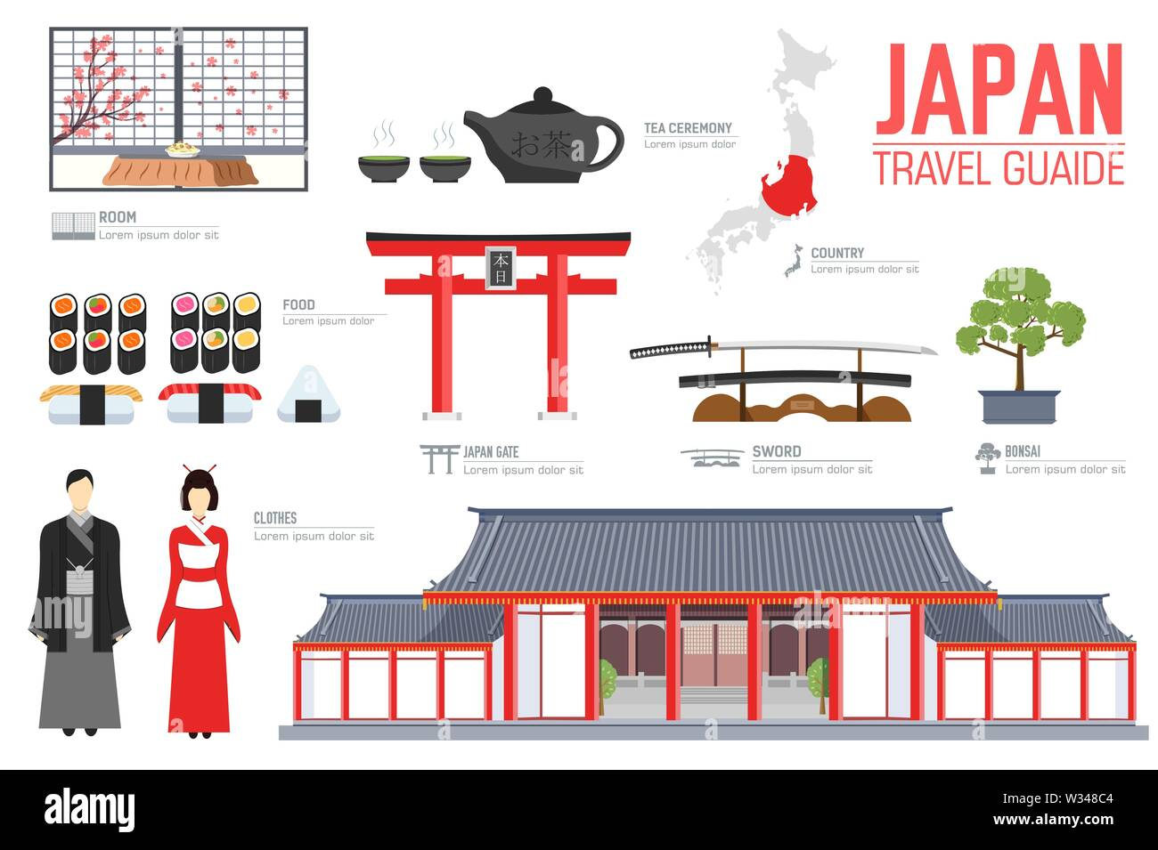 Japan travel guide template. Set of japanese landmarks, cuisine, traditions flat icons, pictograms on white. Sightseeing attractions and cultural symb - Stock Image