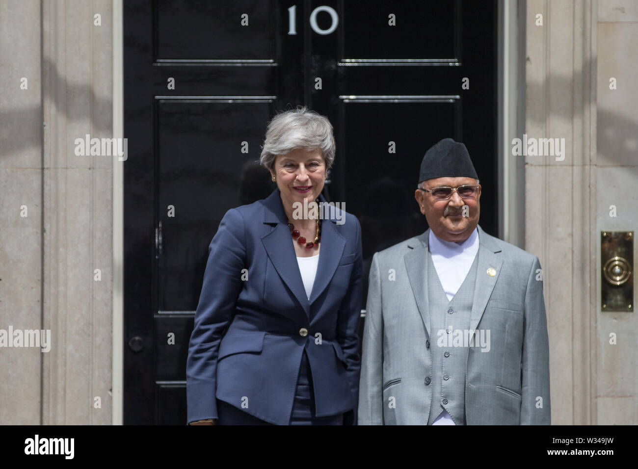 Prime Minister Theresa May greets Nepalese Prime Minister Khadga