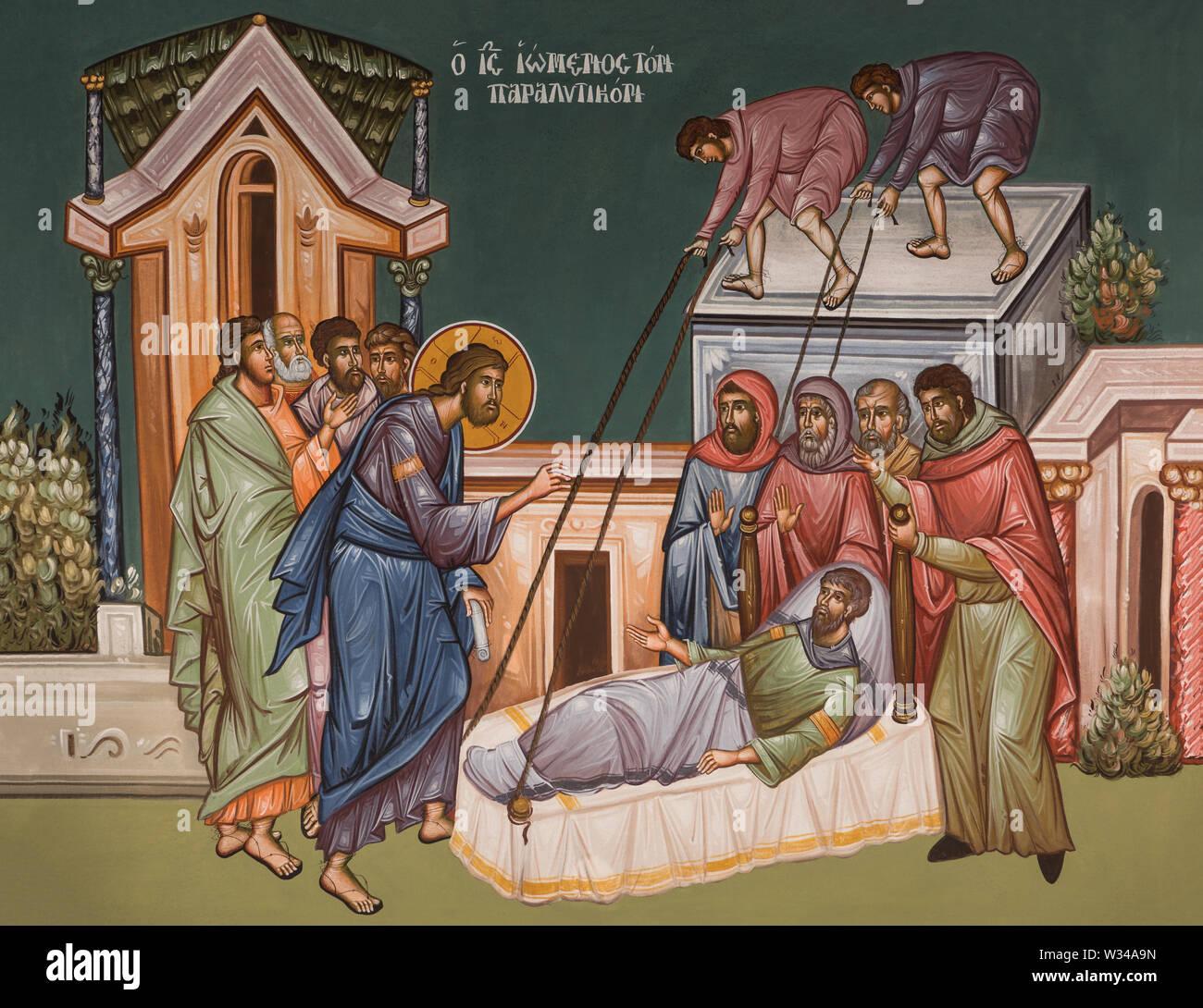 Ortthodox icon of Jesus healing paralyzed man Stock Photo