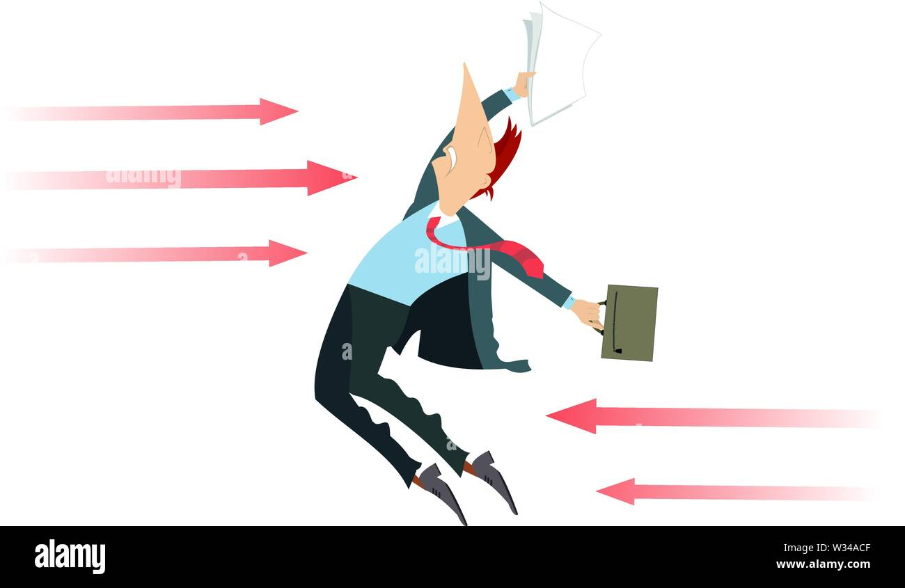 Businessman and arrow signs concept illustration. Falling man with bag and papers attacked from front and back with arrow signs isolated on white - Stock Vector