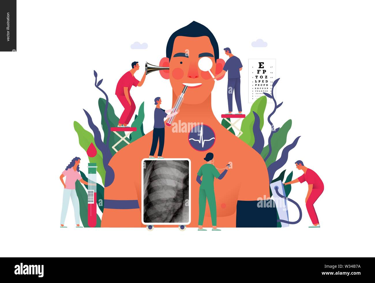 Annual health checkups -medical insurance illustration -modern flat vector concept digital illustration -doctors examing male patient checking hearing - Stock Image
