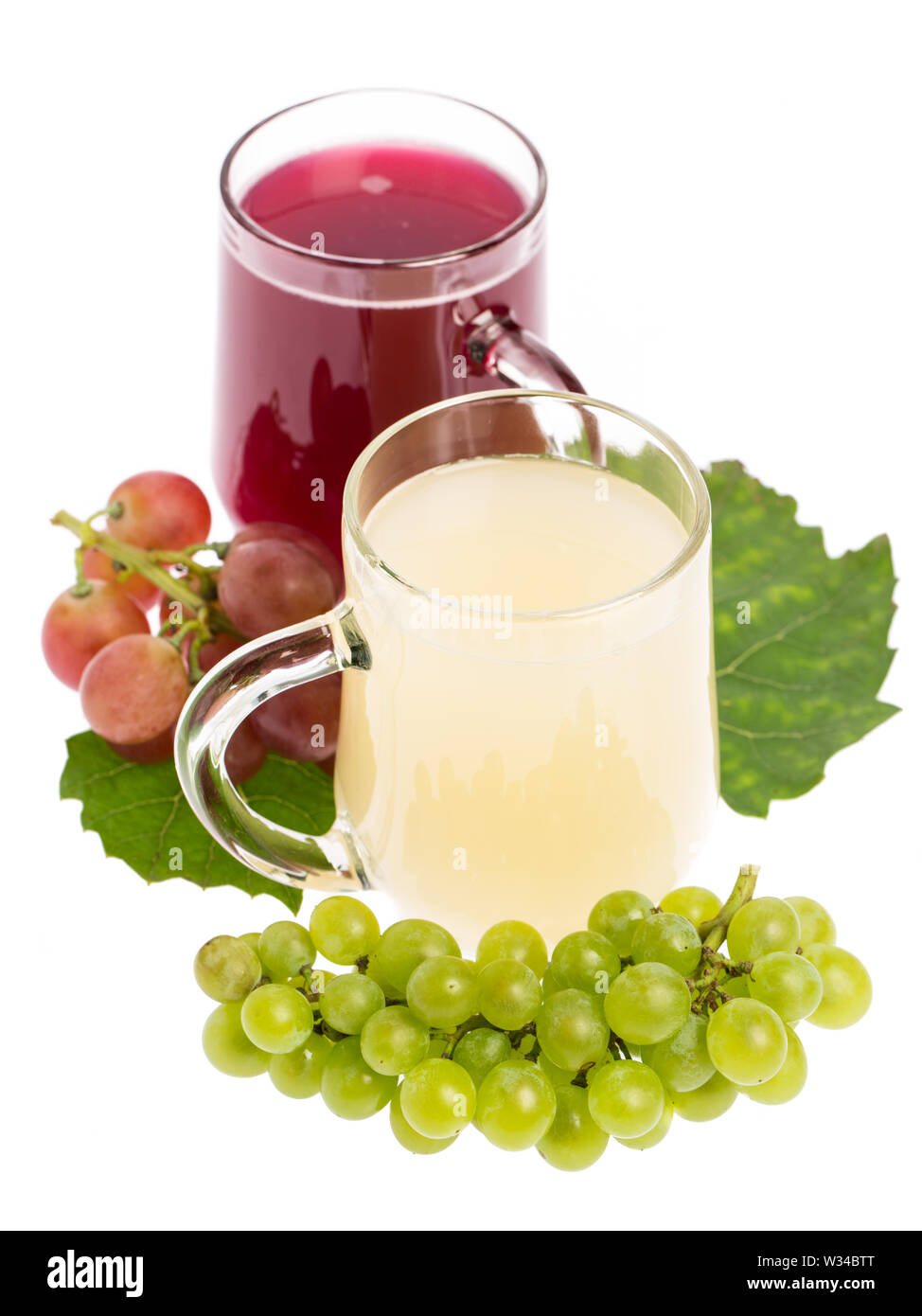 'Sturm': Red and white wine decorated with grapes - Stock Image