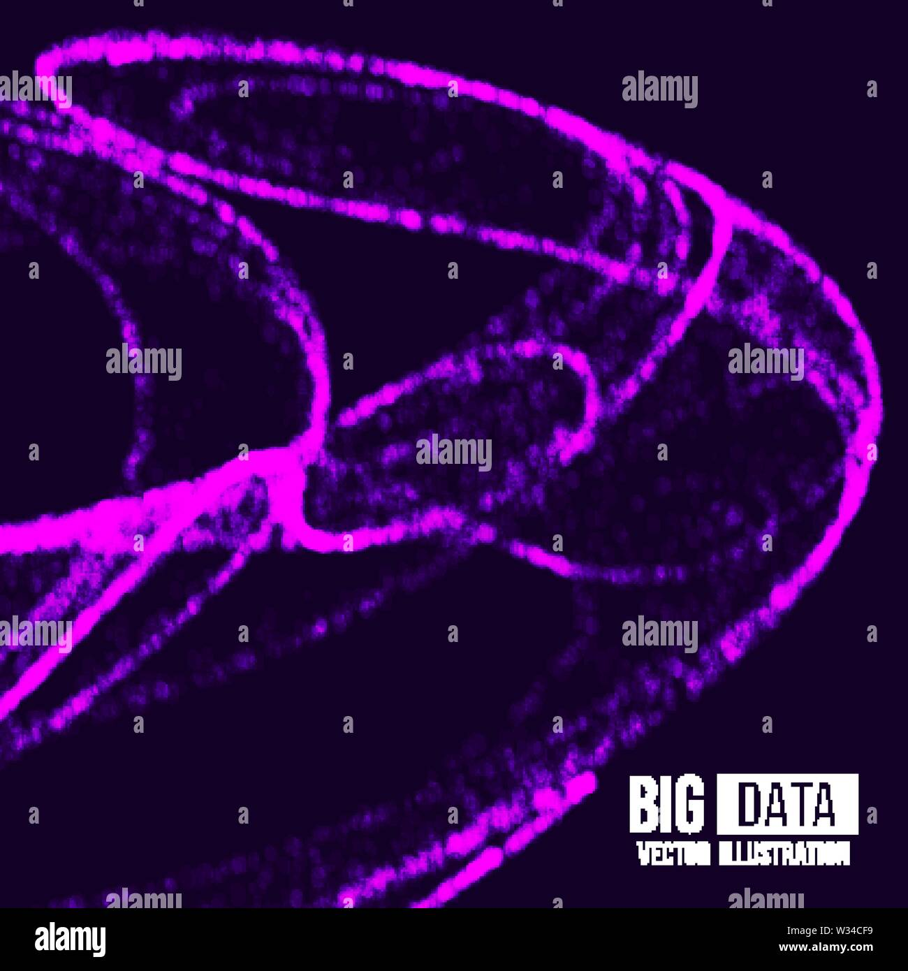 Visual Analytics for Big Data. Vector illustration. Dynamic visualizations with connecting dots and low poly shape. Legacy Data and Streaming Data. - Stock Image