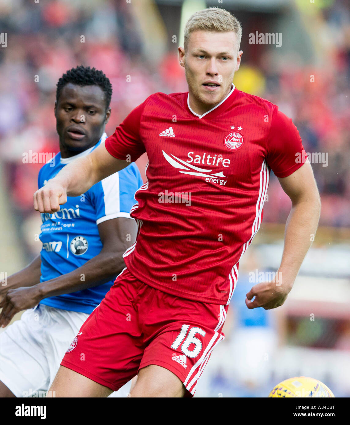 Aberdeen'€™s Sam Cosgrove during the Europa League, Qualifying First Round match at Pittodrie Stadium, Aberdeen. - Stock Image