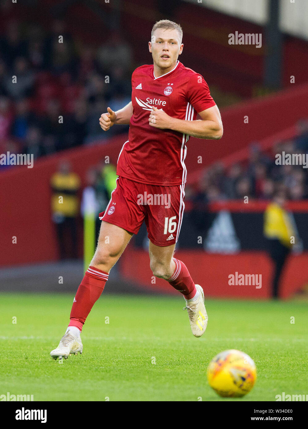 Aberdeen's Sam Cosgrove during the Europa League, Qualifying First Round match at Pittodrie Stadium, Aberdeen. - Stock Image